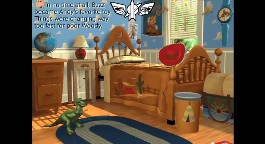 On the next page  you play a part in Woody s plan by helping make sure all  the toys are in the correct position to form a chain reaction ultimately  knocking. Dan the Pixar Fan  Toy Story  Animated Storybook CD ROM Game