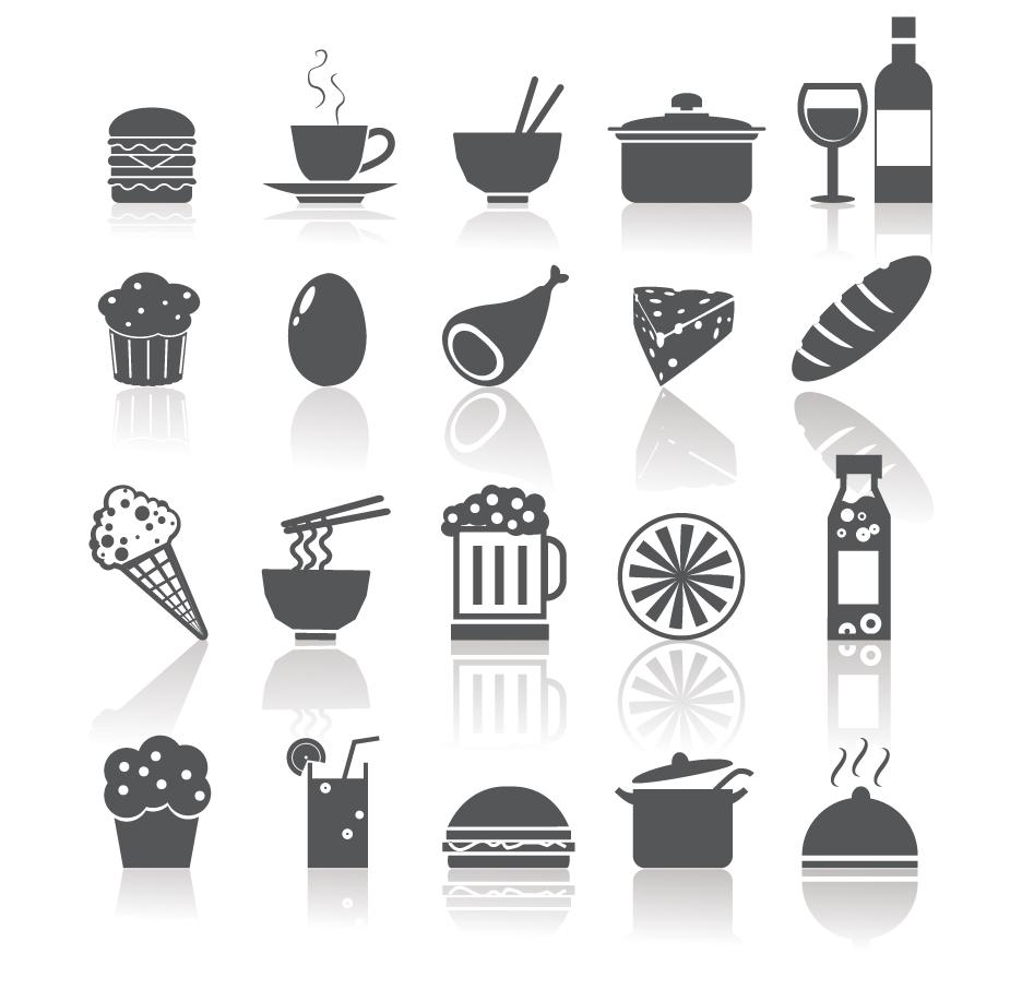 飲食関連のシルエット アイコン Food and Drinks Icons イラスト素材