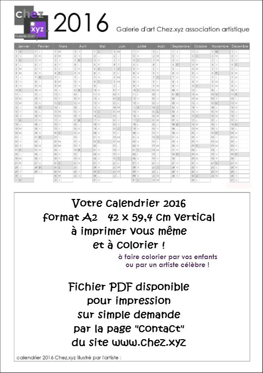 Calendrier 2016 Galerie d'art Chez.xyz