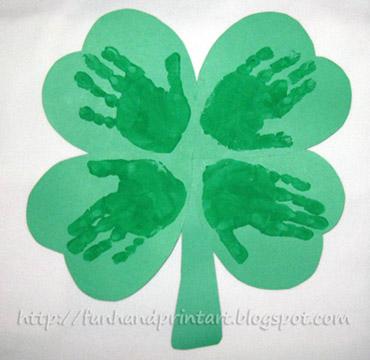 http://funhandprintart.blogspot.ca/2011/03/handprint-4-leaf-clover.html