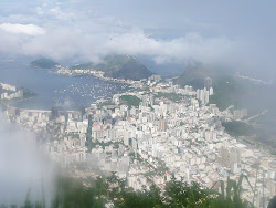 Harbor and Flamengo and Sugarloaf Mtn (behind in clouds), from Corcovado Mtn, Rio de Janeiro