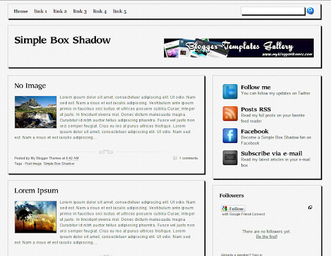 Simple Box Shadow Blogger Theme