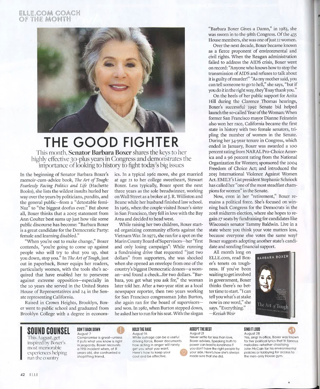 Kimberley cameron associates you can find barbara boxer for Elle magazine this month