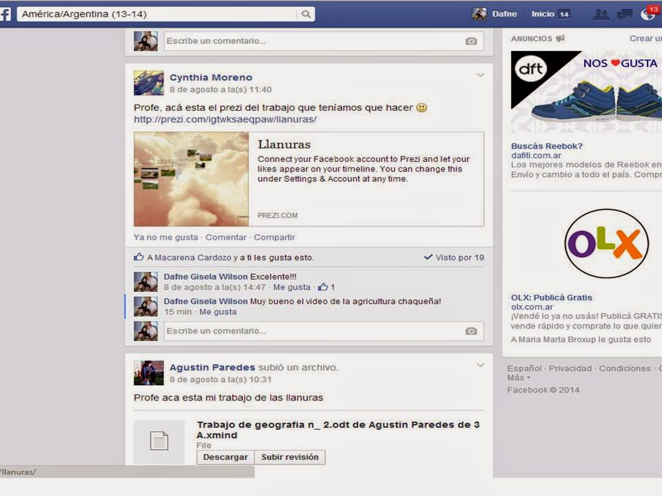 Utilizamos Facebook para compartir los trabajos.