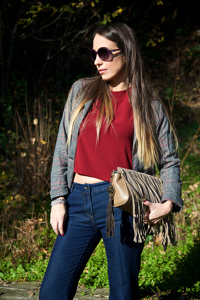 crop top rosso bordeaux