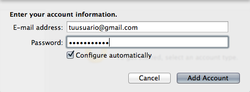 Configurar Gmail en Outlook para Mac