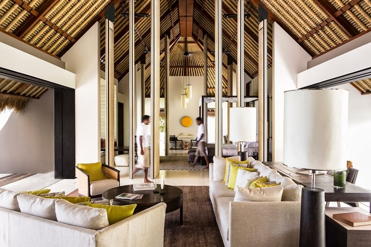 Interior of Modern villa in Maldives by Jean-Michel Gathy