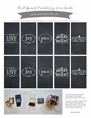 free download for holiday themed chocolate wrappers and gift packaging inspiration by Lorrie Everitt | creativebag.com