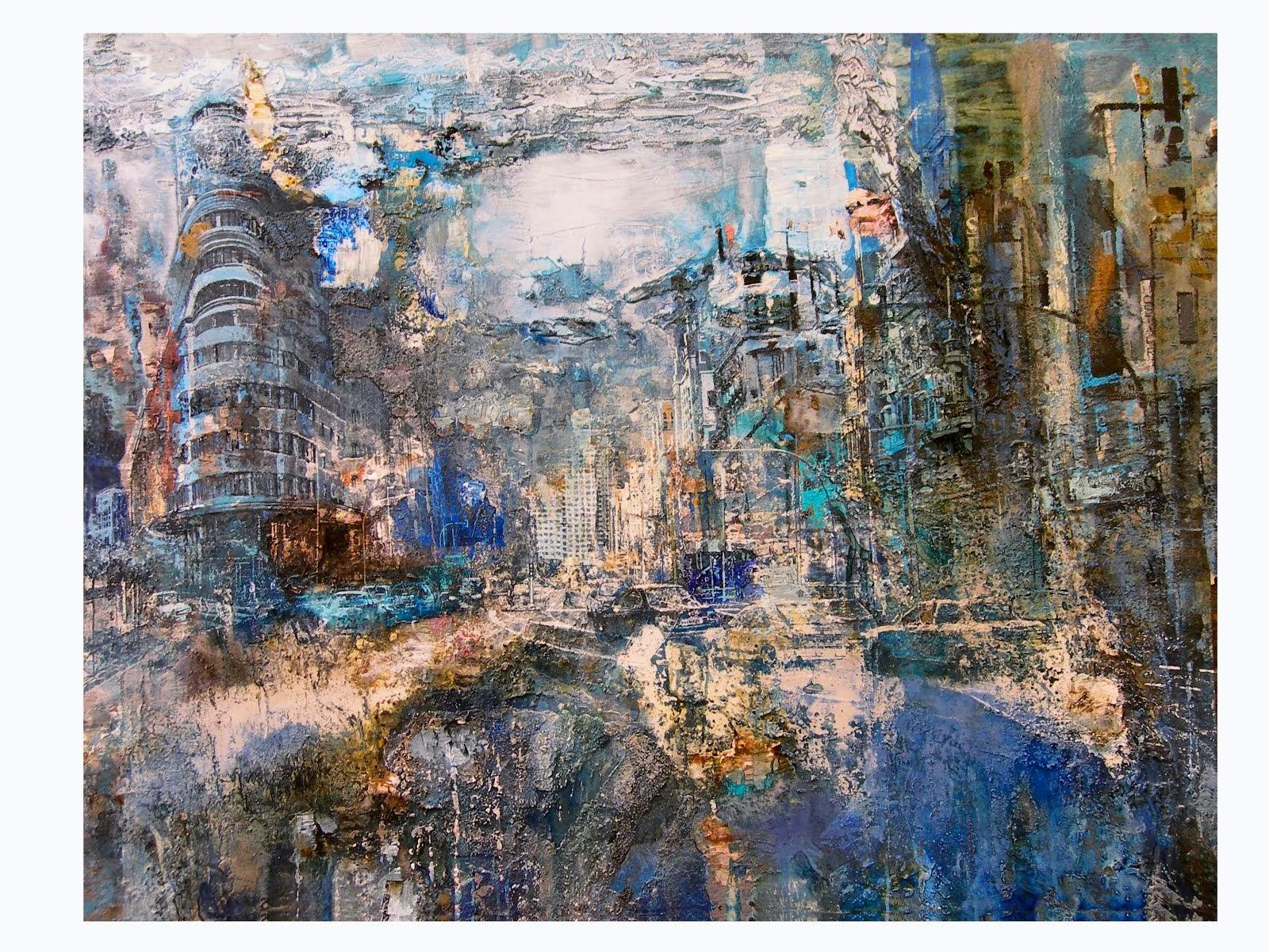 """""""Gran Vía azul"""" acrílico y anilinas/lienzo, 114 x 146 cm"""
