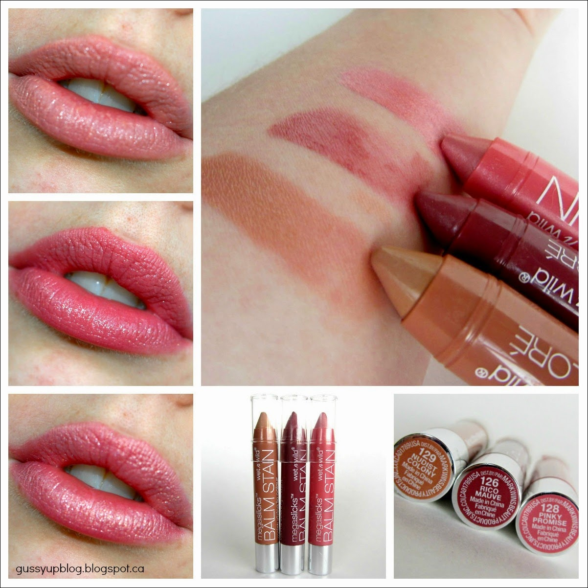 Wet N' Wild Megaslicks Balm Stain Moisturizing Lip Colour in Nudist Colony, Rico Mauve and Pinky Promise, Review and Swatches