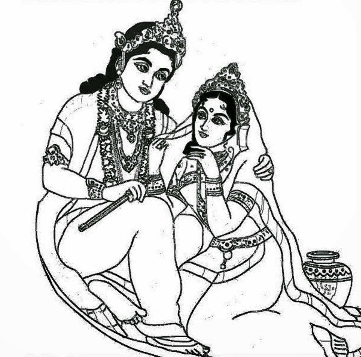 Lord Radha Krishna Coloring Drawing Free Wallpaper | Anggela Coloring Book For Free