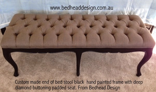 Coordinated end of bed stool custom made to match upholstered bedhead and complete bed from Bedhead Design