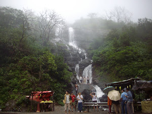 "Holidayers enjoying the ""Monsoon Waterfalls""."