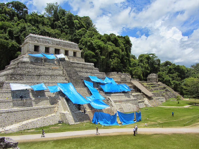 View of the Temple of Inscriptions from El Palacio at Palenque in Mexico