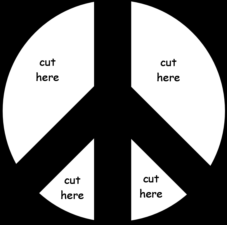 Peace Sign Clipart Black And White Peace Sign Cut The White