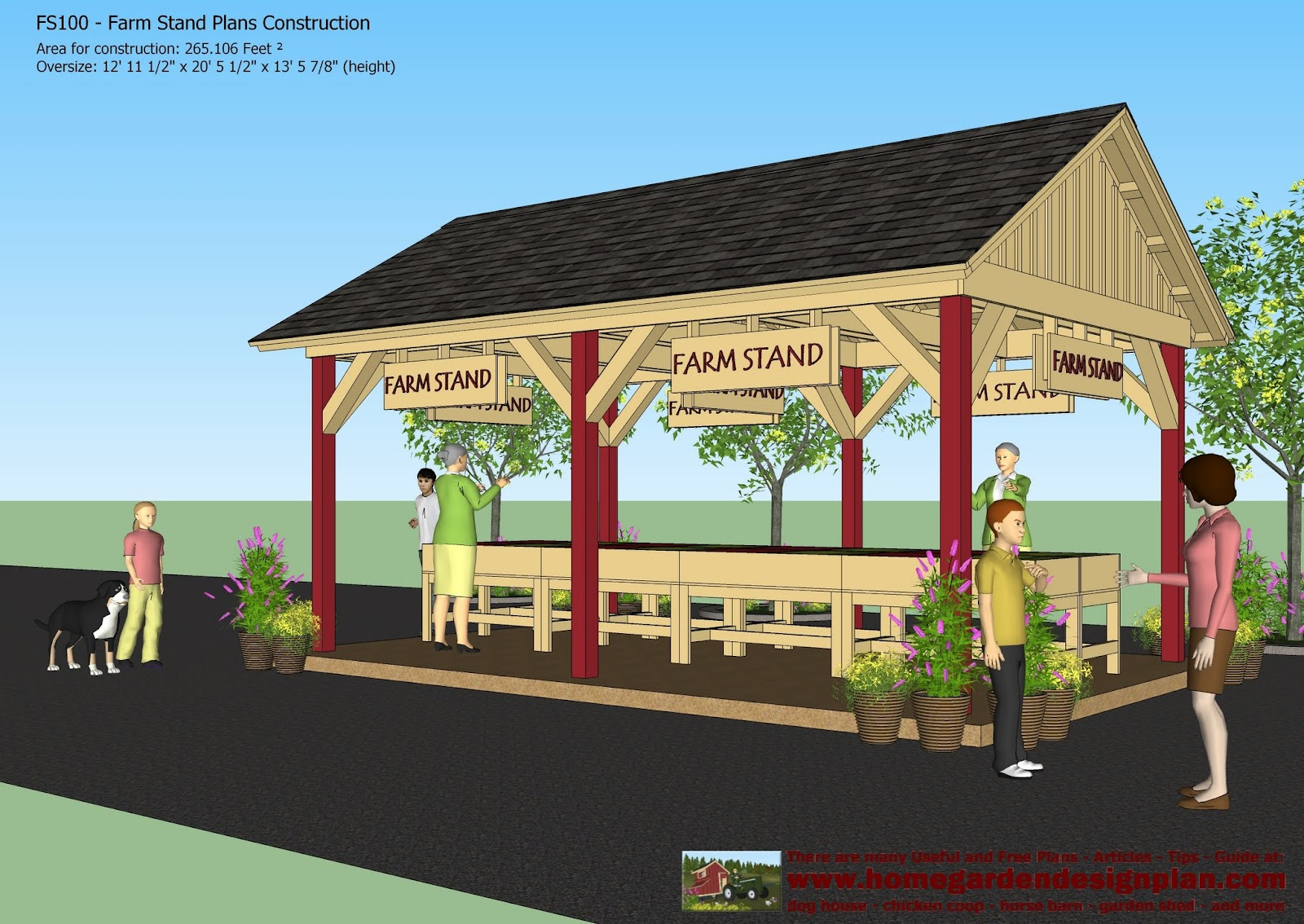 Home garden plans fs100 farm stand plans construction for Farm house construction plans