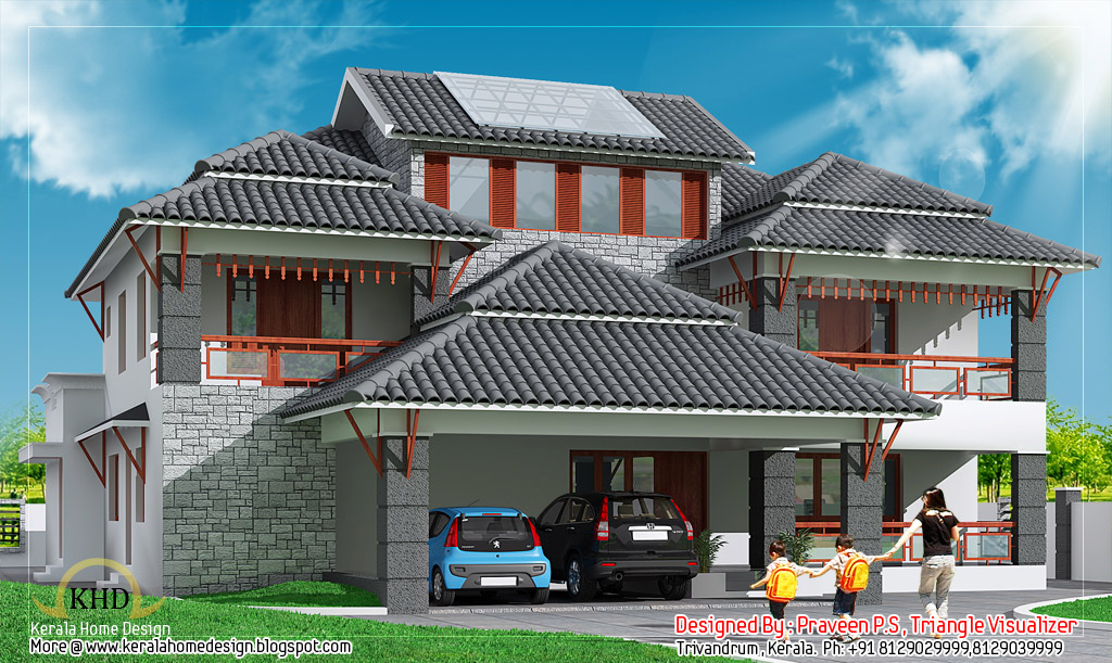 Modern House Elevation   436 Sq M (4700 Sq. Ft)   January 2012