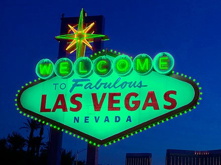 Las Vegas Sign lit in green in honor of St. Patrick's Day