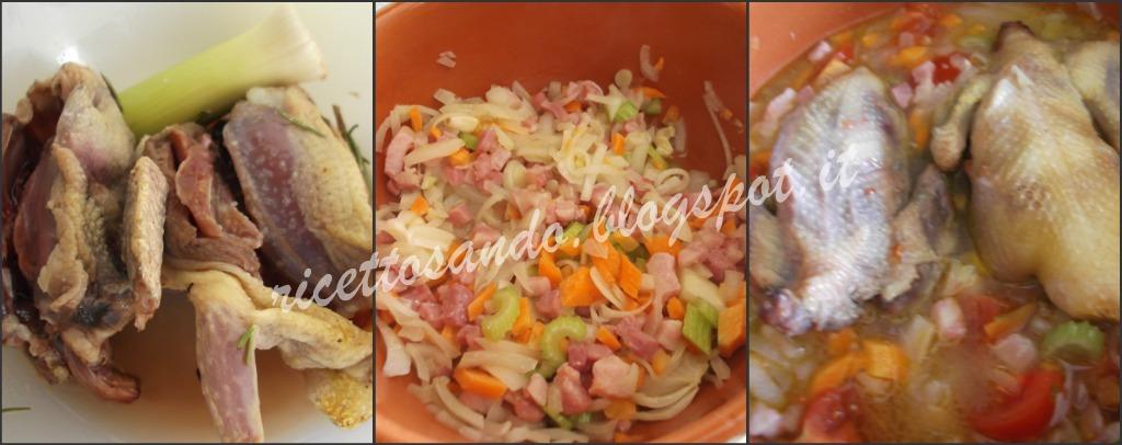 Piccioni stufati in coccio mettiamo la carne ad insaporire con le verdure