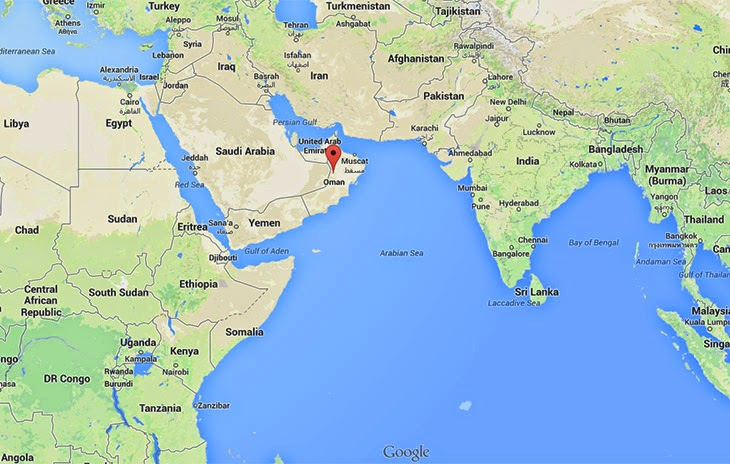 Map of Oman and India
