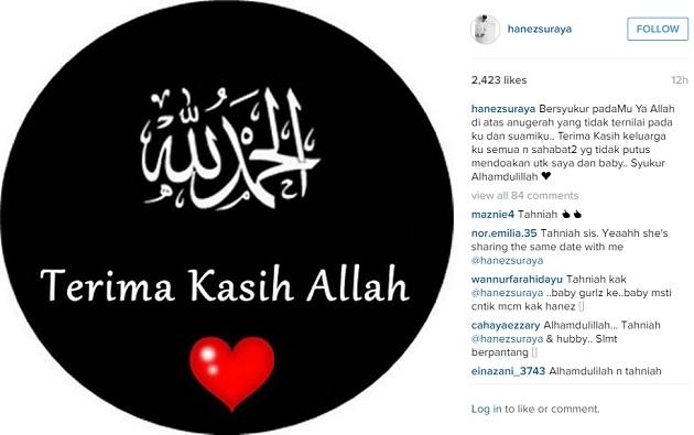 Status Instagram Hanez Suraya selamat melahirkan cahaya mata sulung