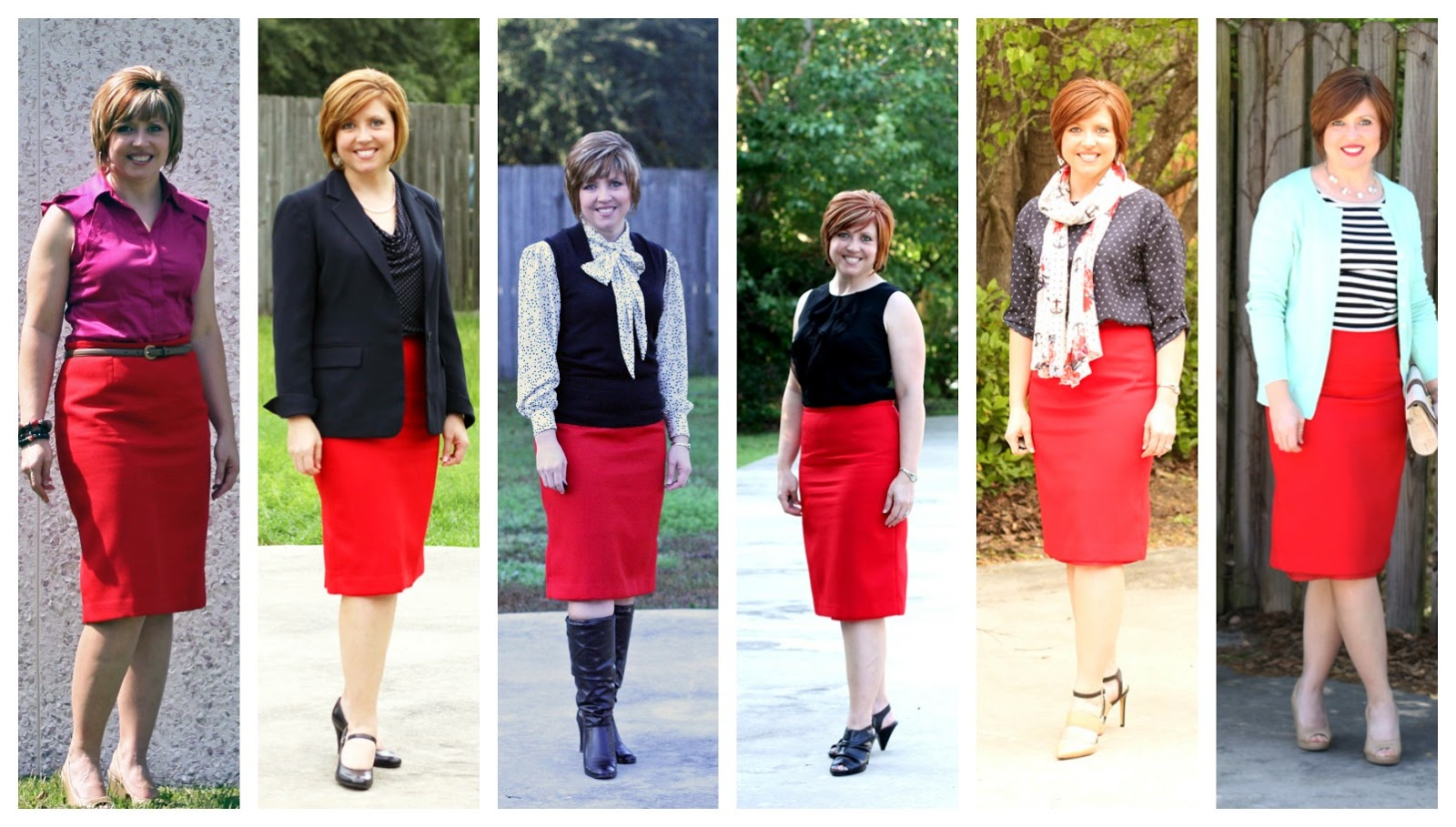 Savvy southern chic red pencil skirt six ways