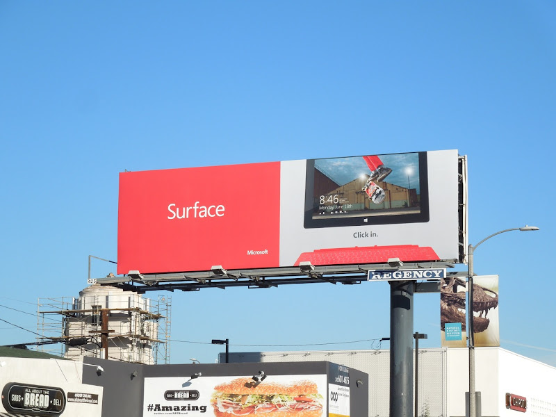 Surface tablet skateboard billboard