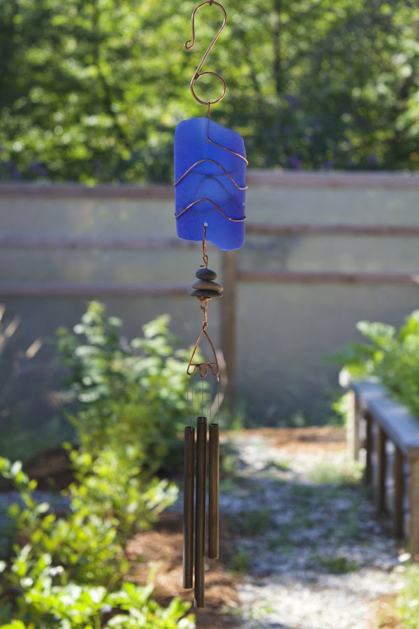 Blue Glass with Copper Wind Chime with Beach Pebbles