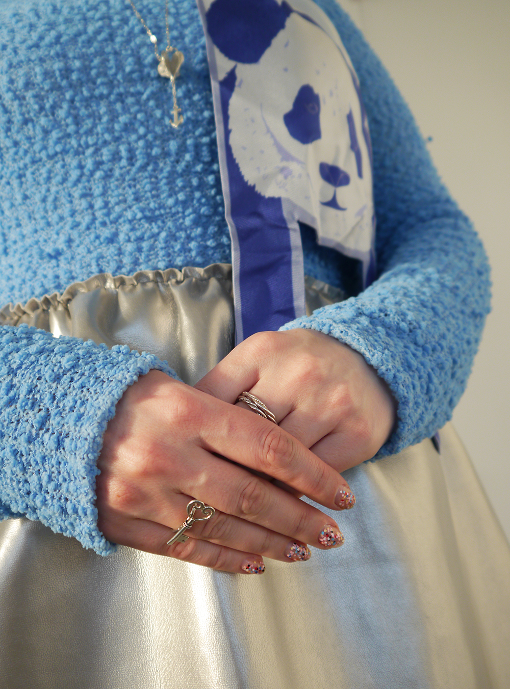 blue and silver outfit, Alice in Wonderland, Karen Smith Jewellery, drink me, style inspiration, how to tie a scarf into hair bow, Cleo Ferin Mercury panda scarf, Scottish blogger