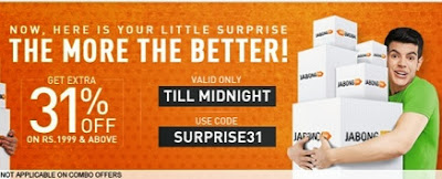 Jabong Surprise Offer: Get Flat 31% additional off on Cart Value of Rs.1999 (Valid till Today Midnight)