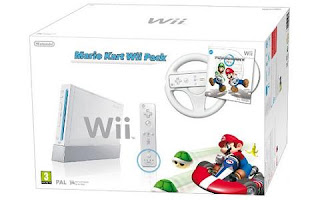White Wii Console: Mario Kart Wii Pack