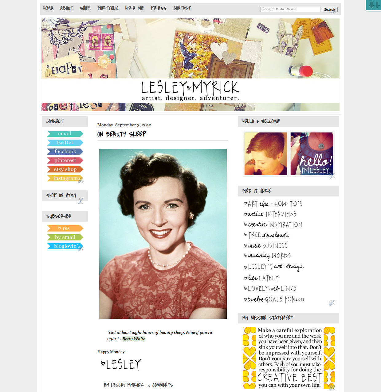 Lesley Myrick Art + Design blog makeover