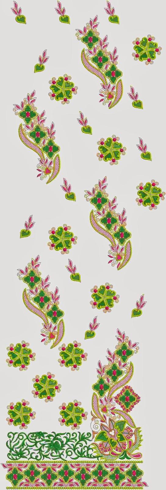 kreatiewe borduurwerk Indiese Lawn pak