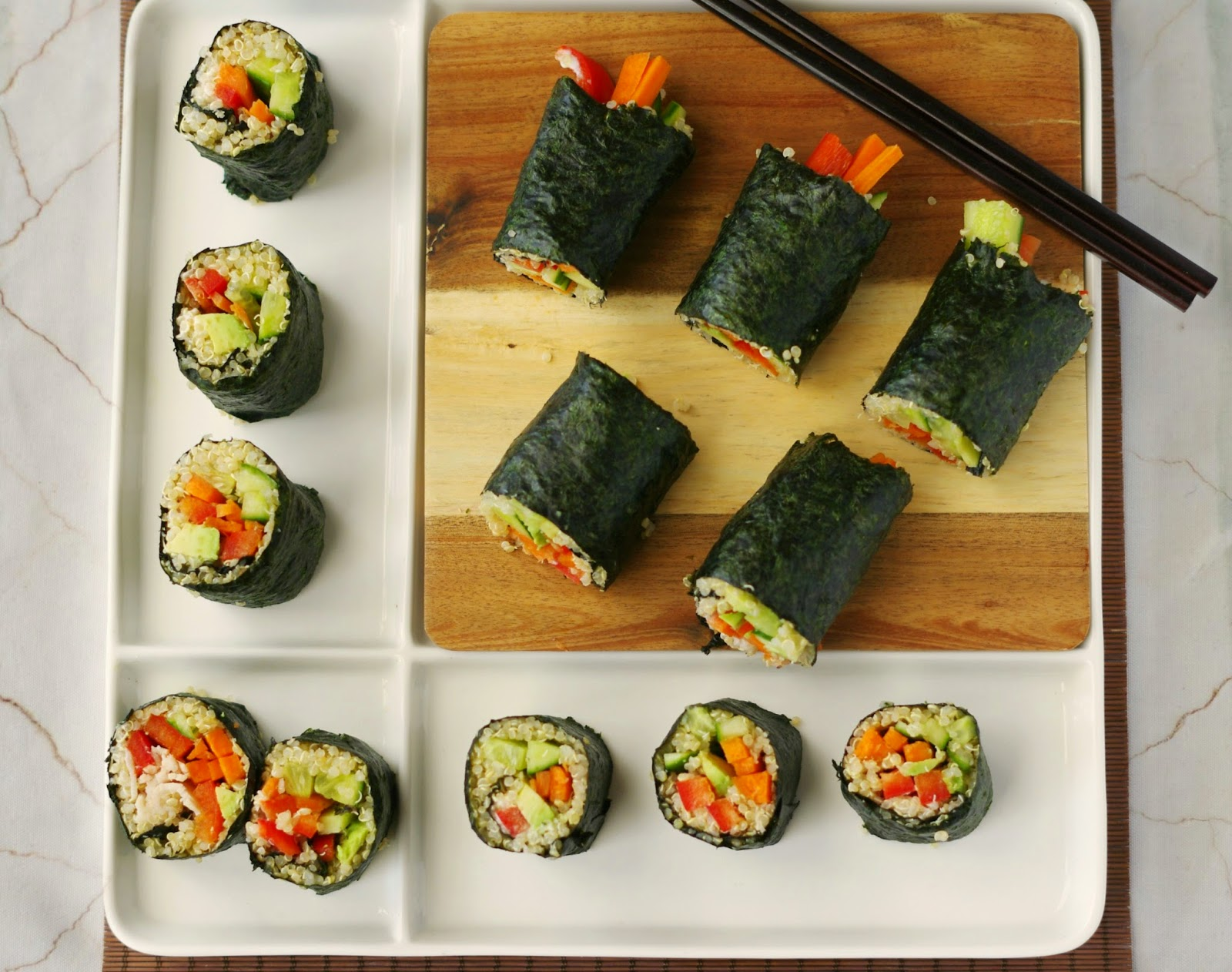So you can make these Vegetarian Quinoa Nori Rolls in under 15 minutes ...