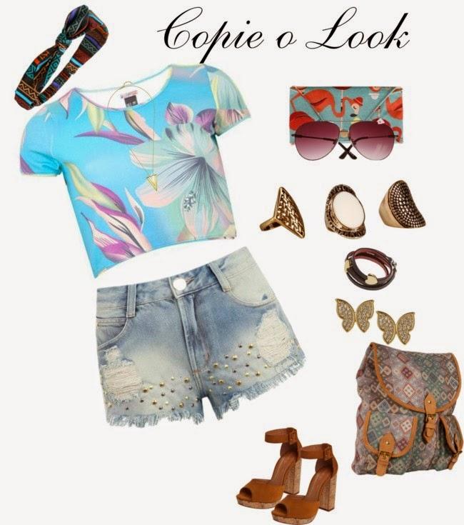 roupas femininas e acessórios, shorts jeans, blusa, anéis boho