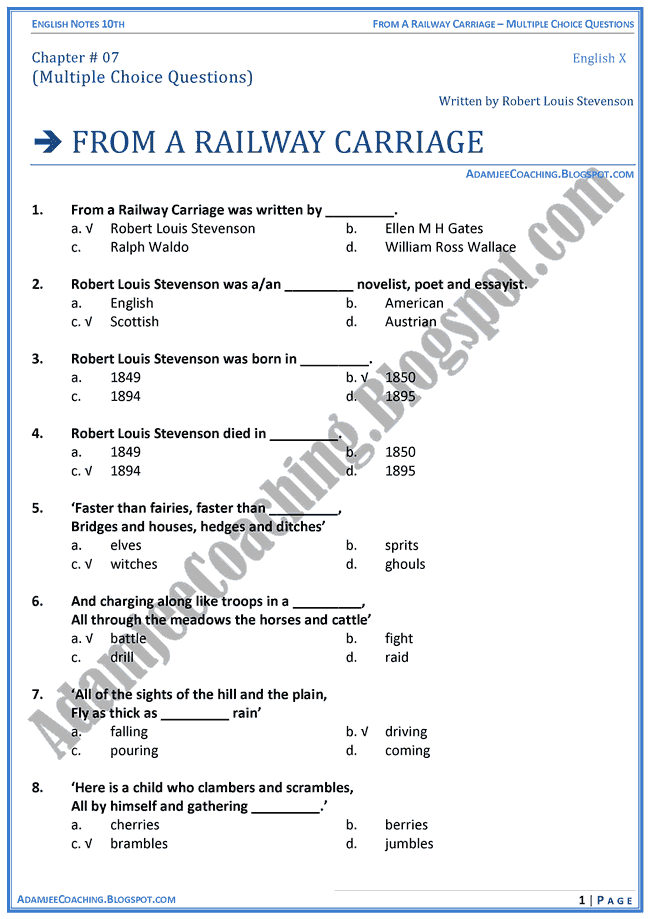 from-a-railway-carriage-mcqs-english-x