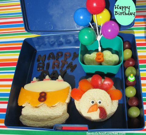 Thanksgiving turkey bento, Happy Birthday bento school lunches