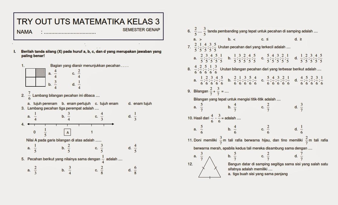 Download Soal UTS Genap Matematika Kelas 3 ~ Rief Awa Blog : Download Kumpulan Soal Ujian SD Terbaru
