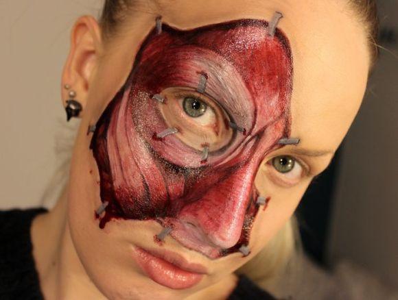 Sandra Holmbom auto-maquiagens criativas e bizarras Músculos do rosto