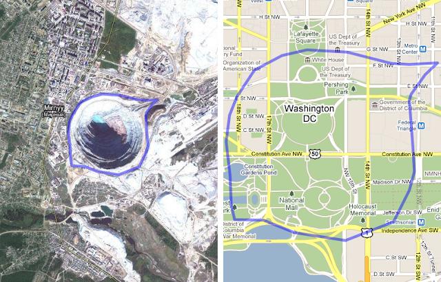 Mirny Diamond Mine Russia Compared To Washington Dc