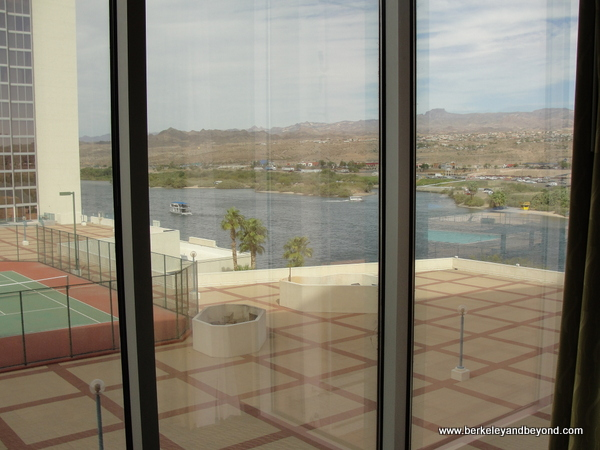 view from guest room at Aquarius Casino Resort at night in Laughlin, Nevada