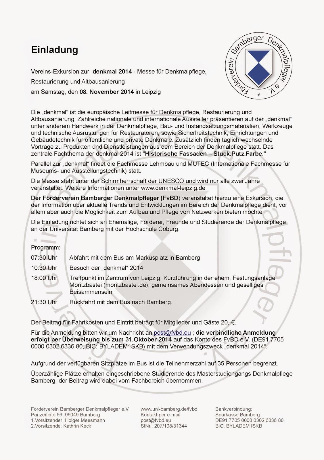 förderverein bamberger denkmalpfleger e.v.: einladung zur vereins, Einladungen