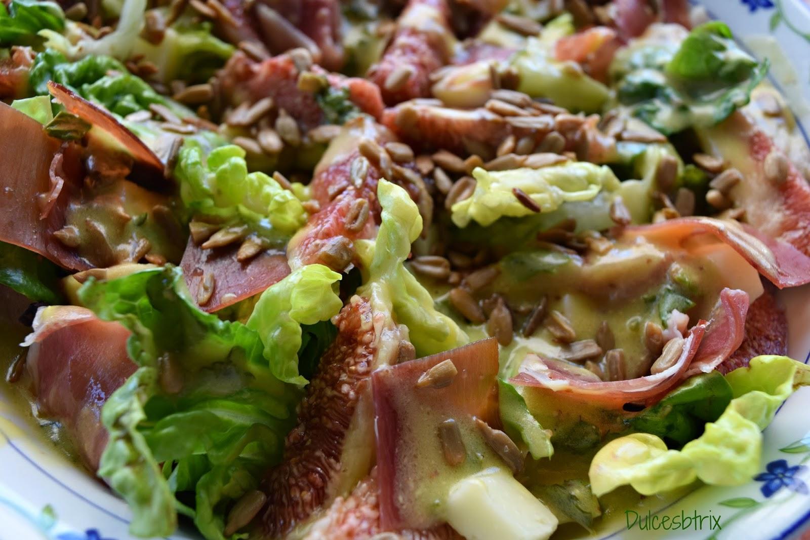 Dulcesbtrix-Ensalada Higos y jamón