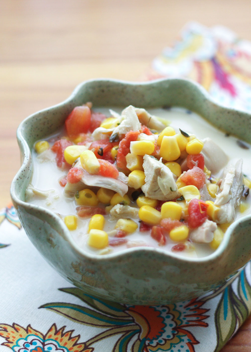 Creamy Mexican Chicken and Corn Soup recipe by Barefeet In The Kitchen