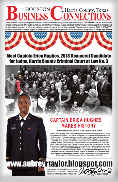 MEET CAPTAIN ERICA HUGHES, 2018 CANDIDATE FOR JUDGE, COUNTY CRIMINAL COURT AT LAW #3
