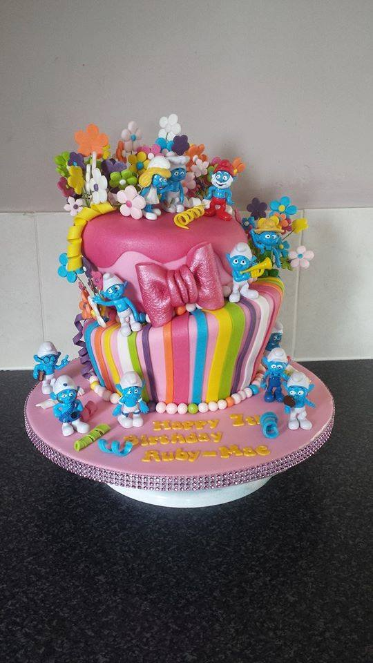 Smurfs Cake Rainbow tiers Flowers buttons