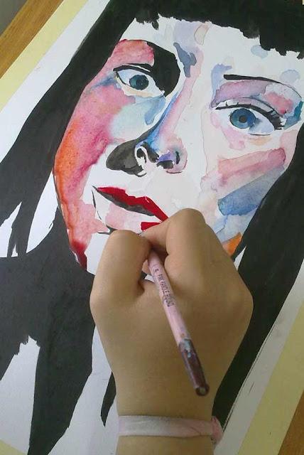 acuarela con tinta china pintando