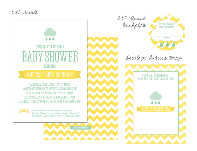 Create your own modern Cloud & Rain Drop Baby Shower using nellie ...