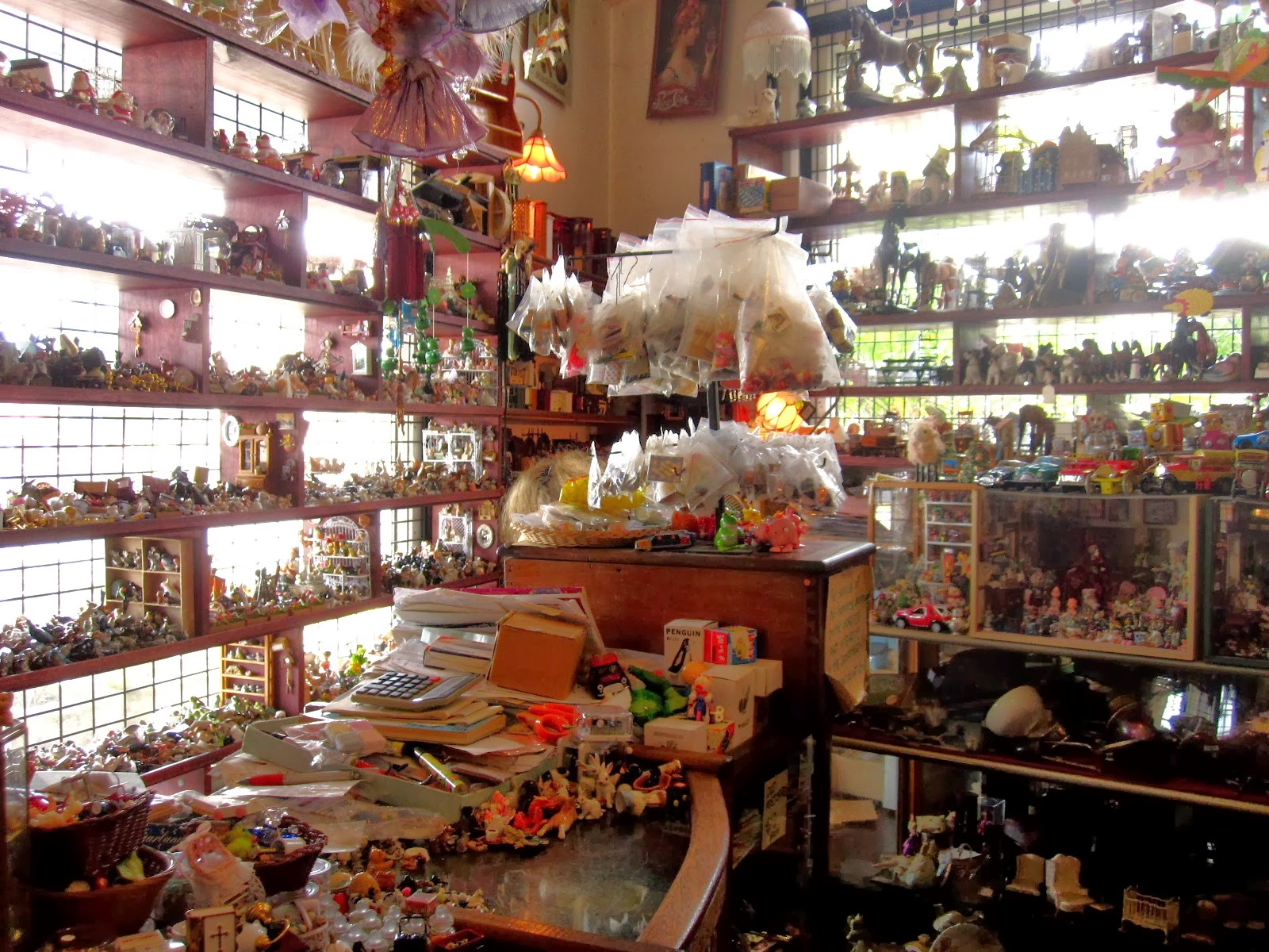 Interior view of The Old Tythe Barn dolls house shop at Blackheath