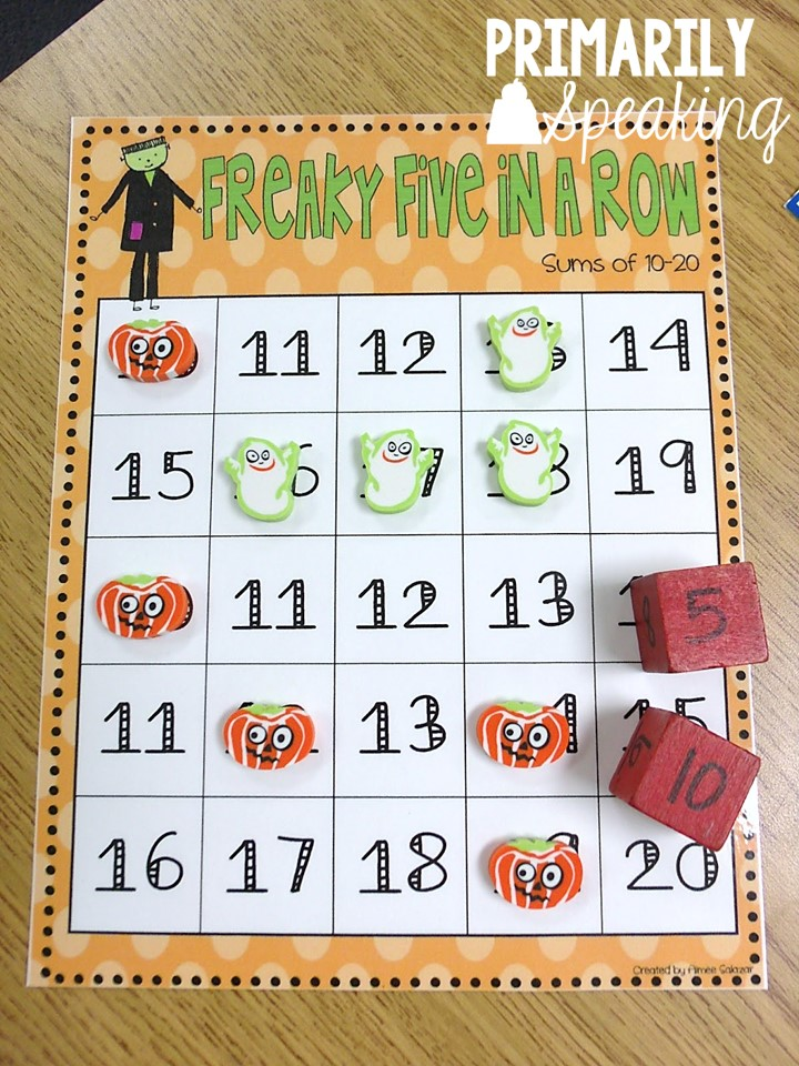 Five in a Row: A Game for Practicing Addition Facts | Primarily Speaking